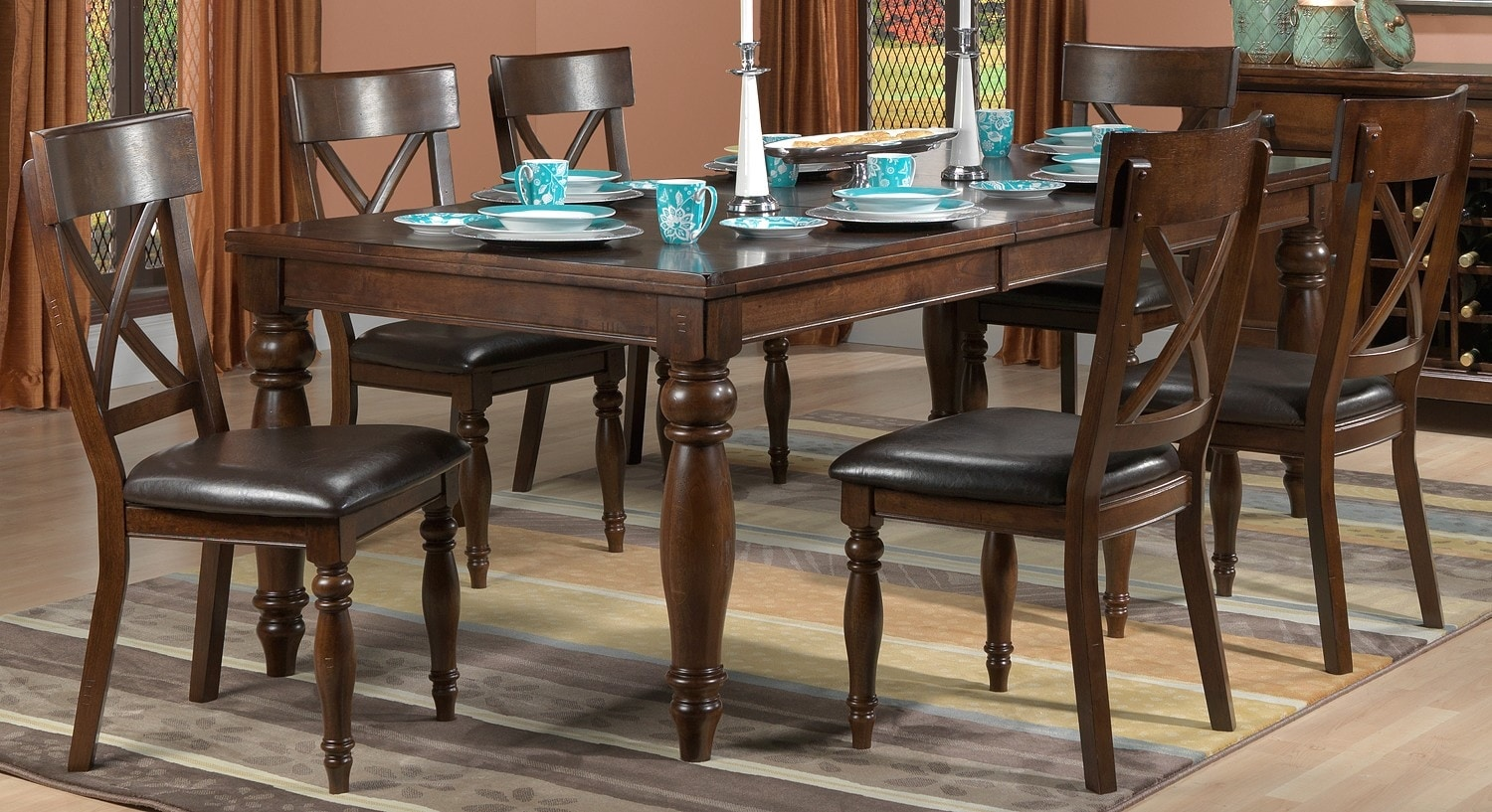 Cora 7 Pc Dining Room Package Chocolate