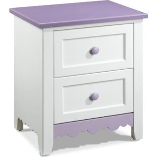 Isabella Lavender Night Table - White, Lavender