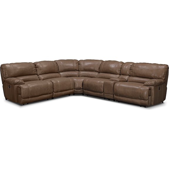 Living Room Furniture - Clinton Taupe 6 Pc. Power Reclining Sectional (Alternate)