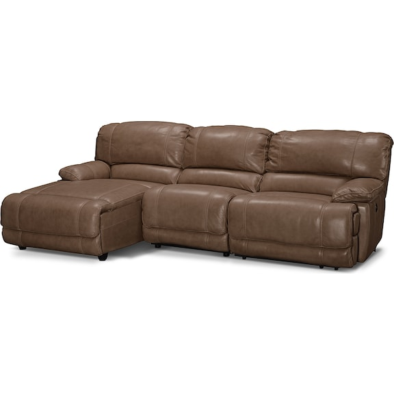 Living Room Furniture - Clinton Taupe 3 Pc. Power Reclining Sectional (Reverse)