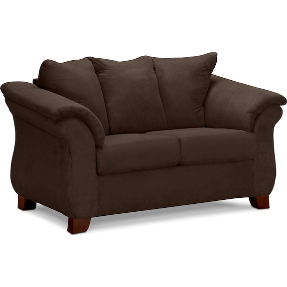 Living Room Furniture - Perry Chocolate Loveseat