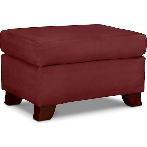 Living Room Furniture - Perry Red Ottoman