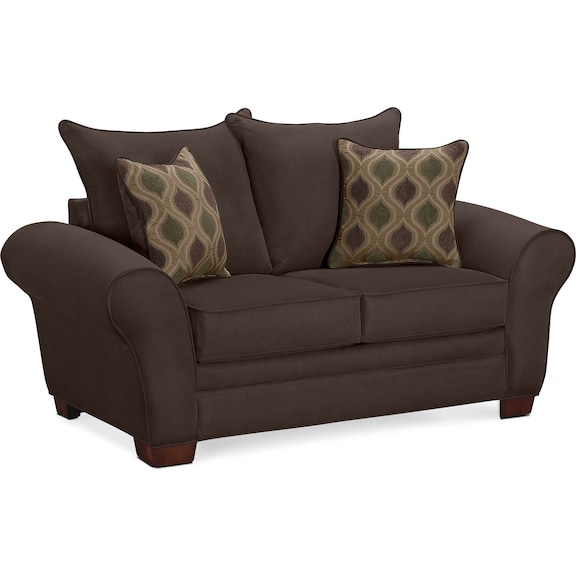 Living Room Furniture - Strauss Chocolate Loveseat