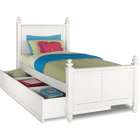 Kids Furniture - Mayflower White Full Bed with Trundle