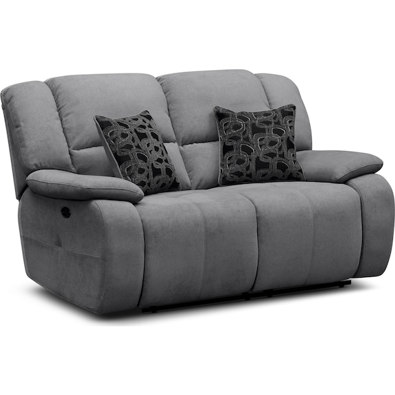 Living Room Furniture - Fortuna Gray Power Reclining Loveseat