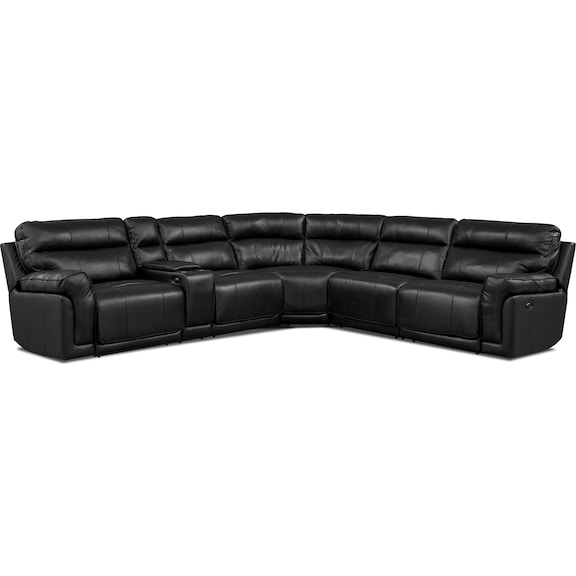 Living Room Furniture - Antonio Black 4 Pc. Power Reclining Sectional with Music Console