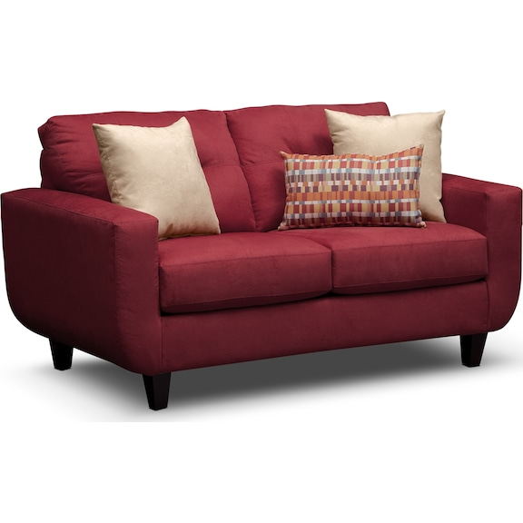 Living Room Furniture - Walker Red Loveseat