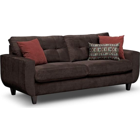 Living Room Furniture - Walker Chocolate Sofa
