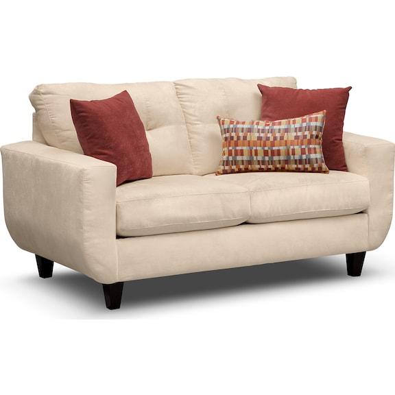 Living Room Furniture - Walker Cream Loveseat