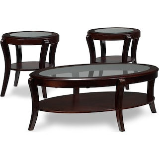 Maura 3-Piece Table Set - Mahogany