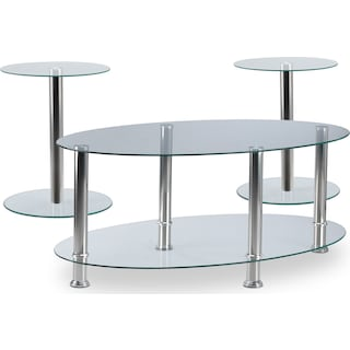 SmiCollection 3-Piece Table Set - Chrome
