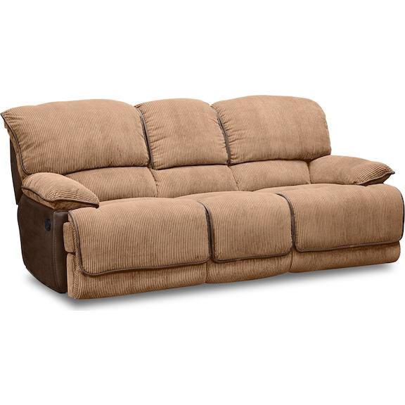 Living Room Furniture - Putnam Camel Dual Reclining Sofa