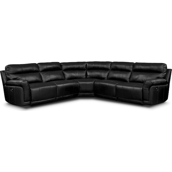 Living Room Furniture - Antonio Black 5 Pc. Power Reclining Sectional