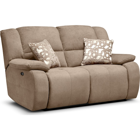 Living Room Furniture - Fortuna II Beige Power Reclining Loveseat