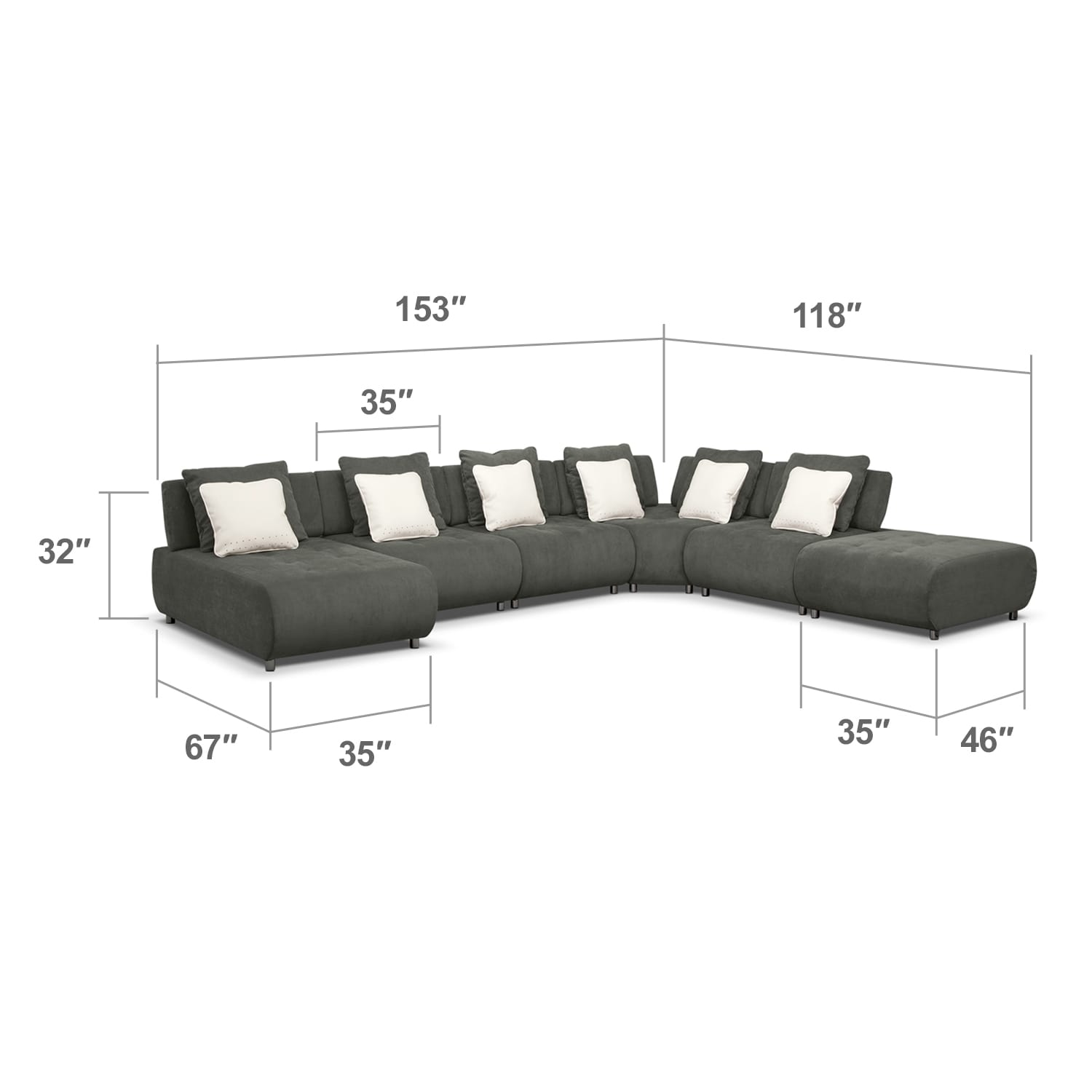 Living Room Furniture - Avalon 6 Pc. Sectional