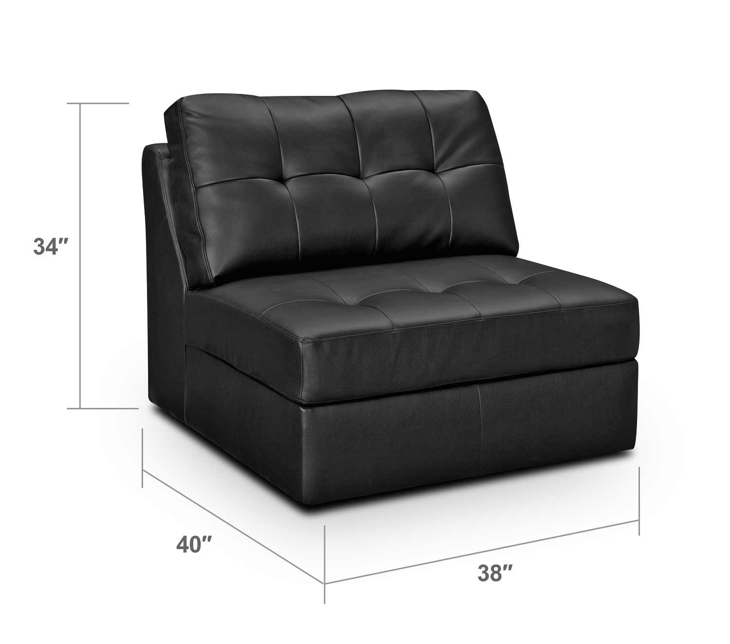 Living Room Furniture - Largo Black Armless Chair