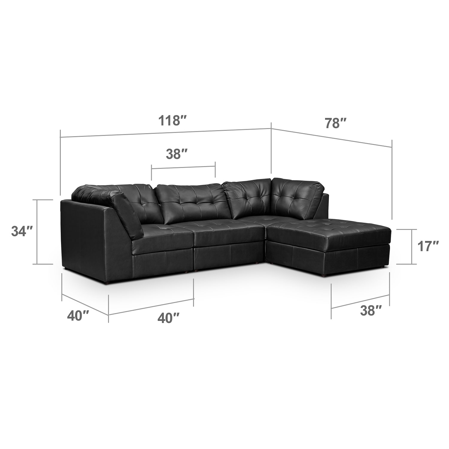 Living Room Furniture - Largo Black 4 Pc. Sectional