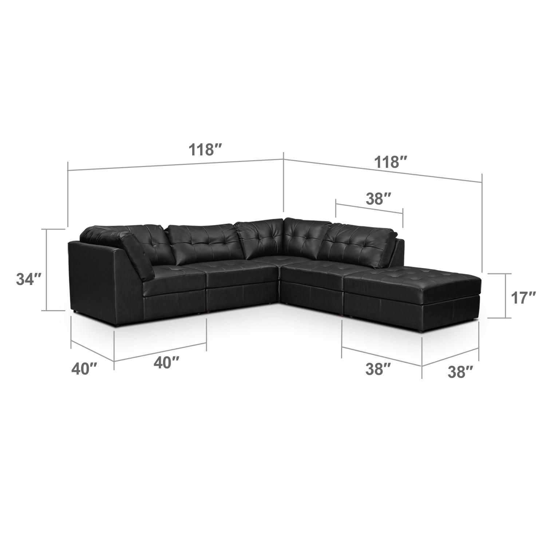 Living Room Furniture - Largo Black 5 Pc. Sectional