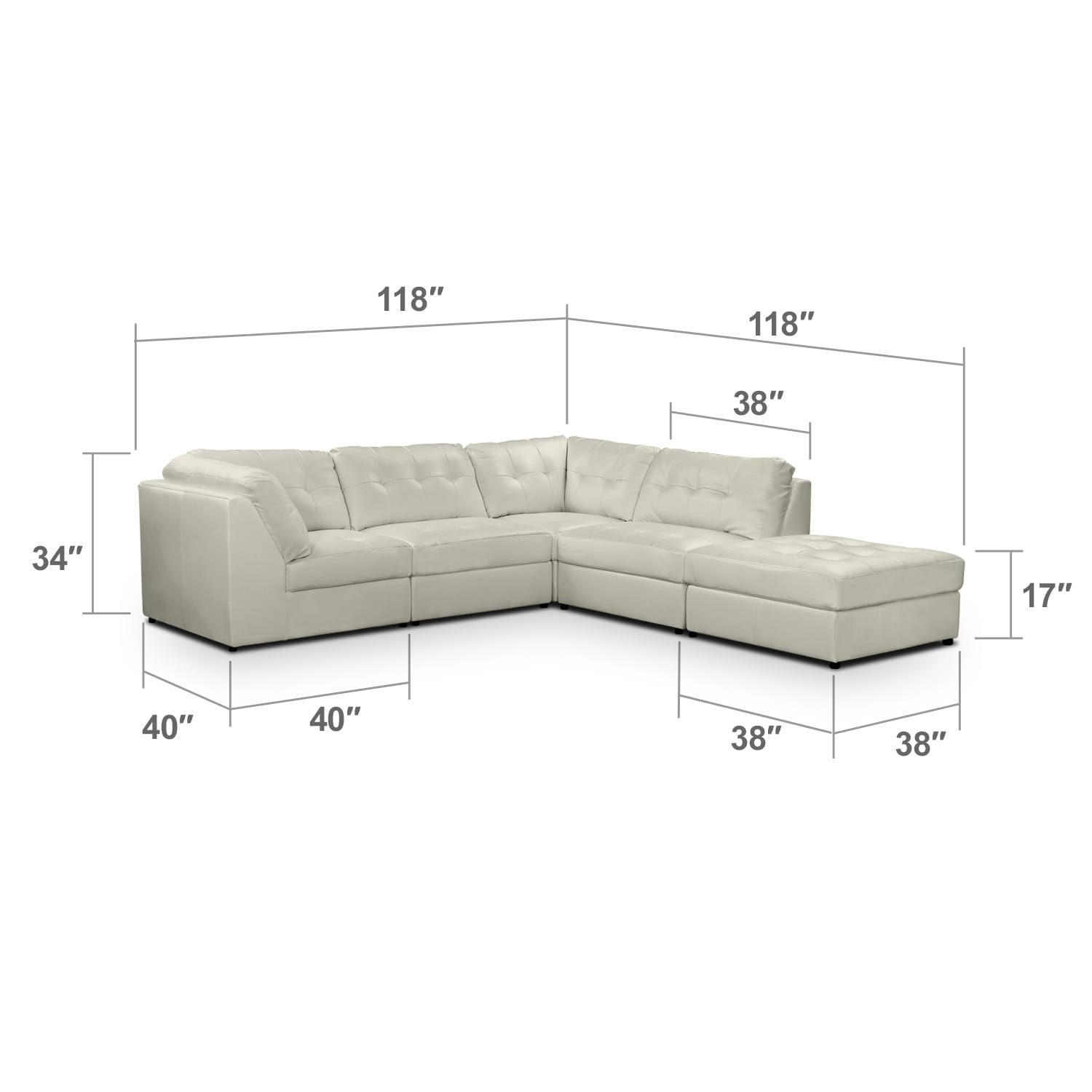 Living Room Furniture - Largo White 5 Pc. Sectional
