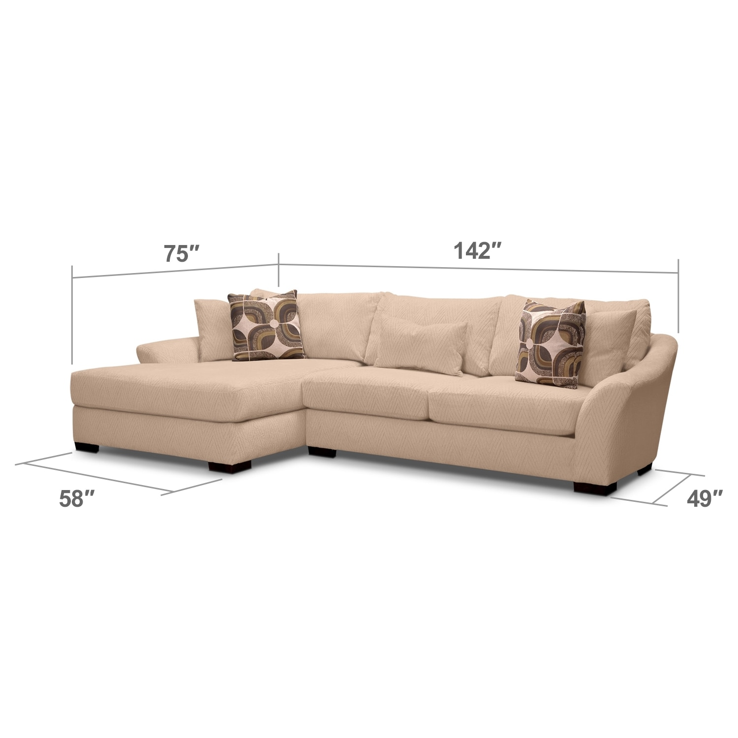 Living Room Furniture - Orleans Cream 2 Pc. Sectional