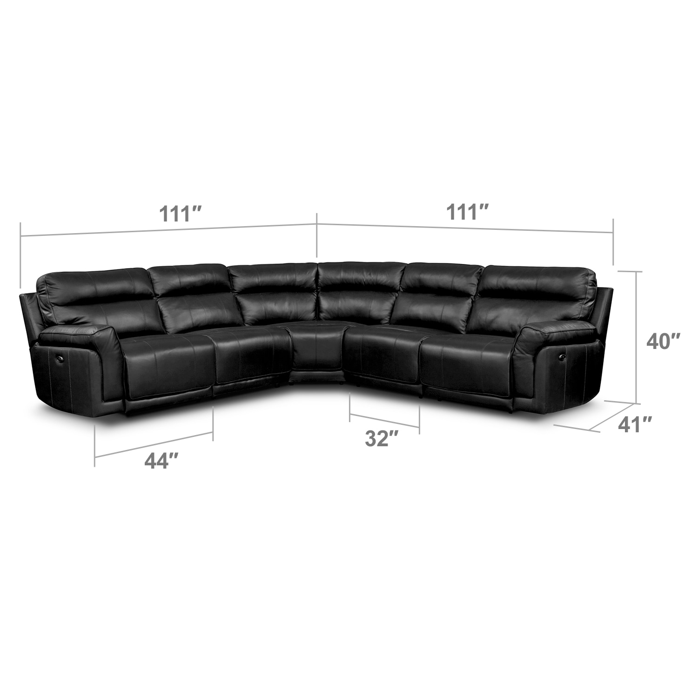 Living Room Furniture - Antonio Black 5 Pc. Power Reclining Sectional