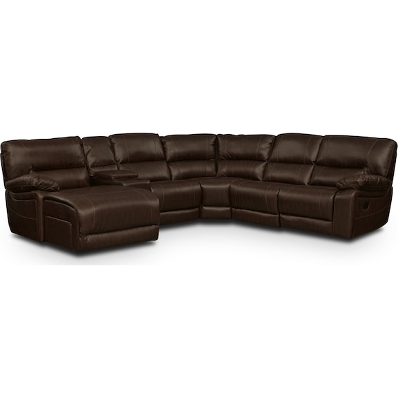 Living Room Furniture - Durango Godiva 5 Pc. Reclining Sectional (Reverse)