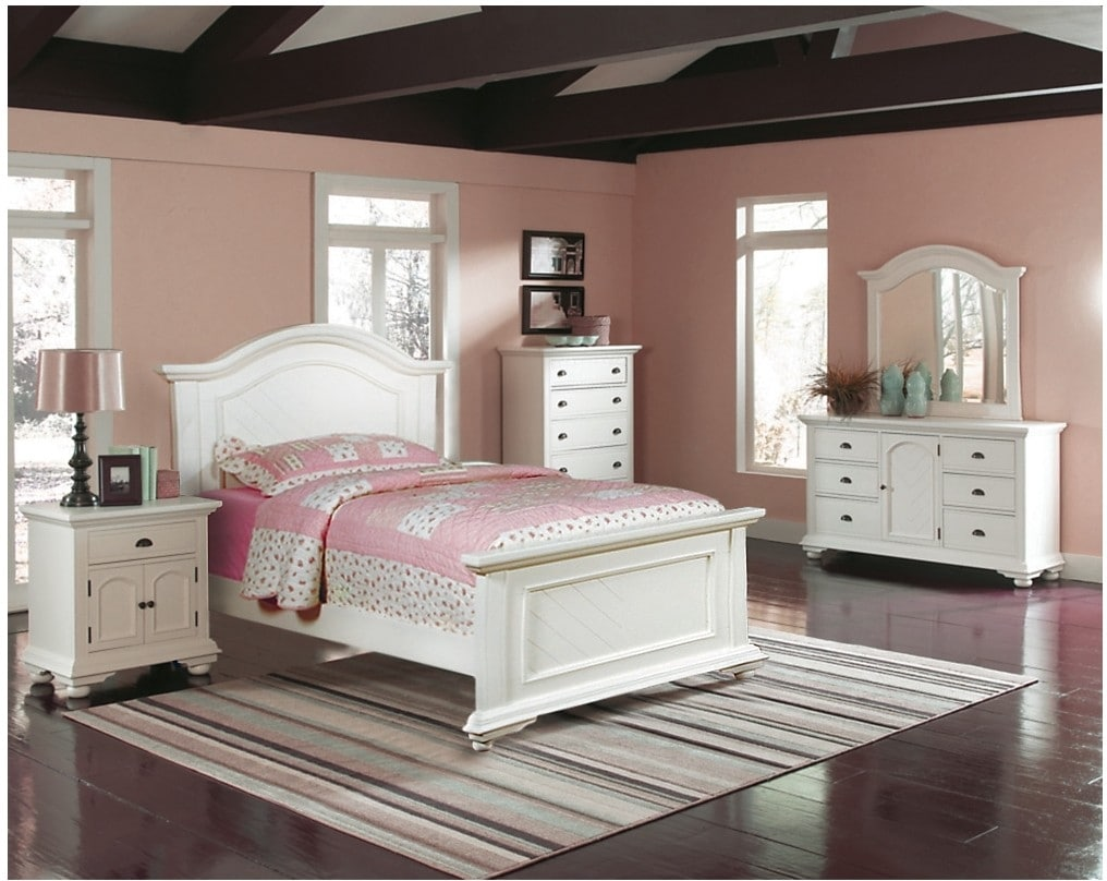 Kids Furniture - Casey Off White 5-Piece Twin Bedroom Package