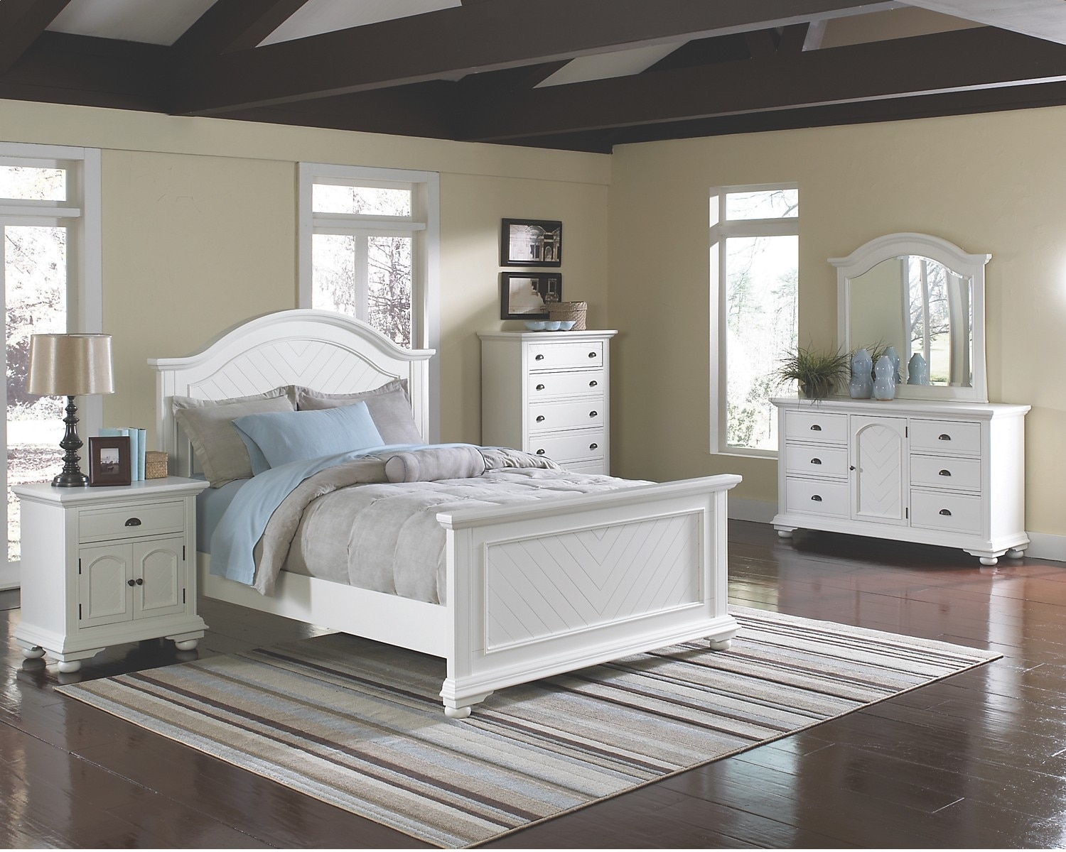 Bedroom Furniture - Casey Off White 6-Piece King Bedroom Package
