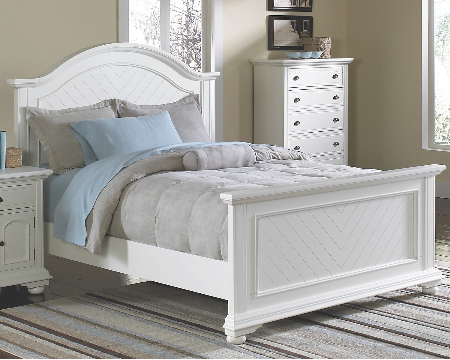 Bedroom Furniture - Casey Off White King Bed