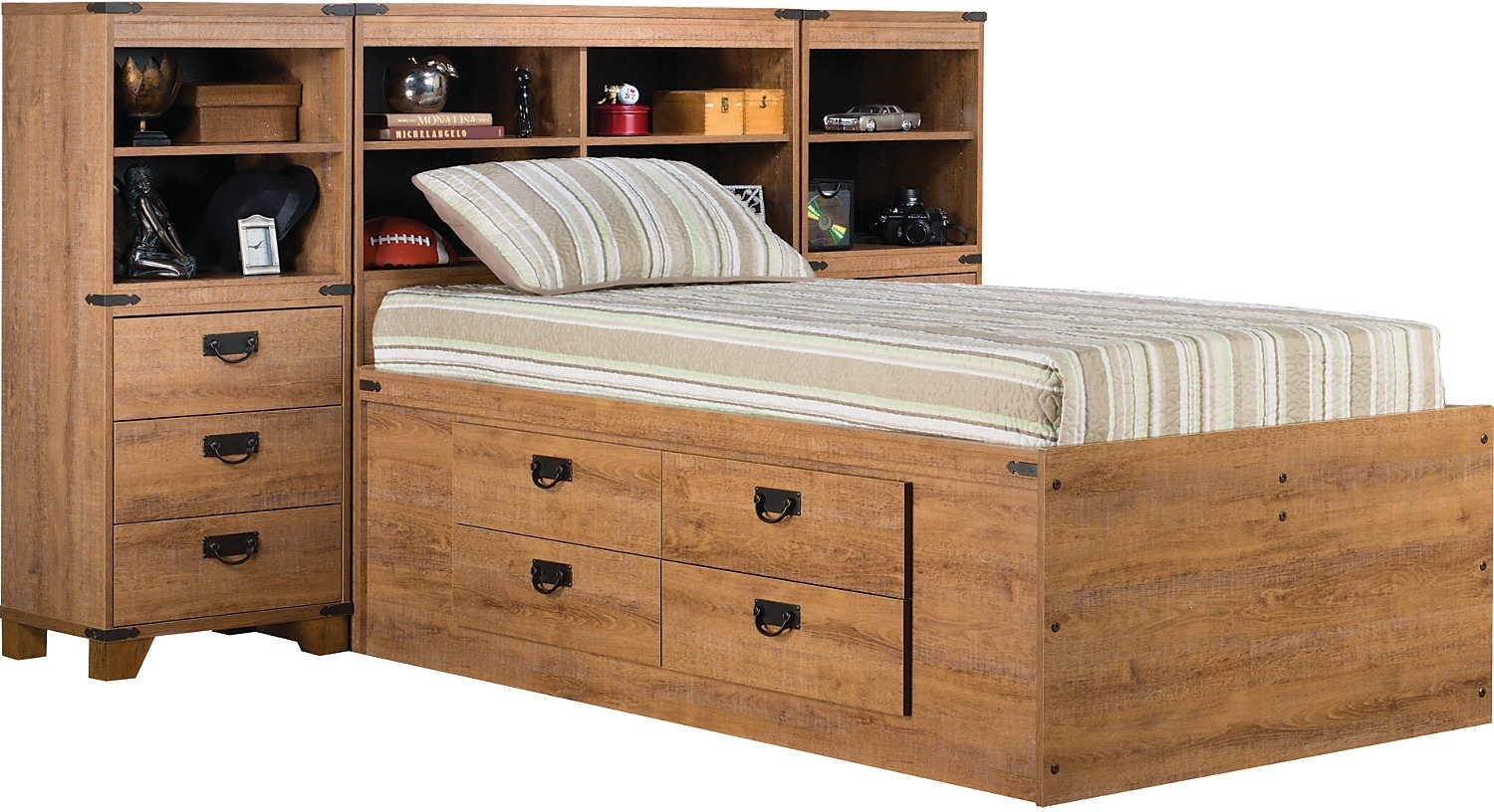 Kids Furniture - Fleetwood Twin Bookcase Storage Bed with Piers