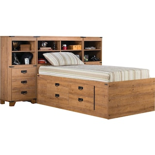 Fleetwood Twin Bookcase Storage Bed with Piers