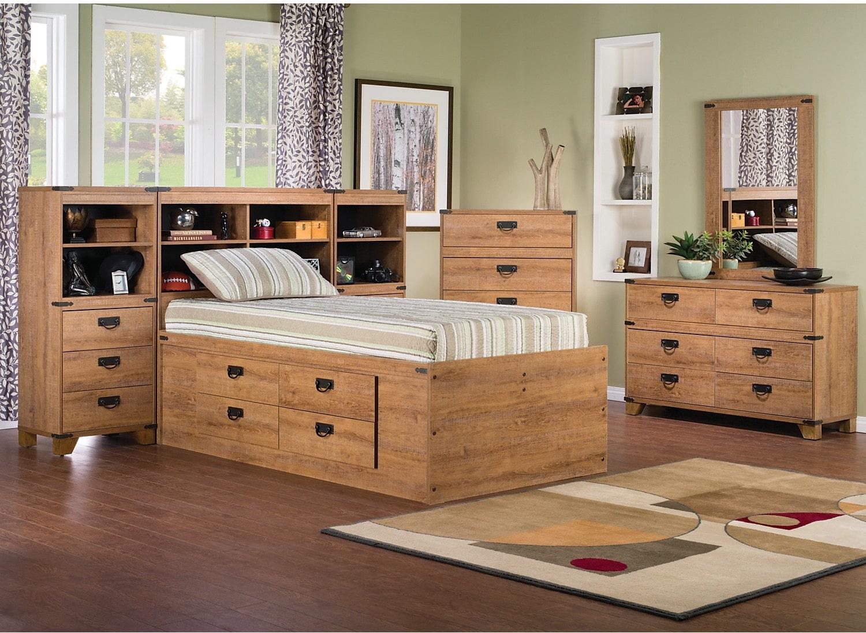 Kids Furniture - Fleetwood 7-Piece Twin Bookcase Storage Bedroom Package
