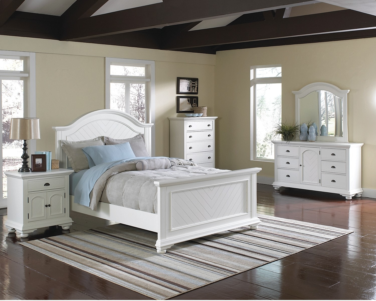 Bedroom Furniture - Casey Off White 7-Piece King Bedroom Package