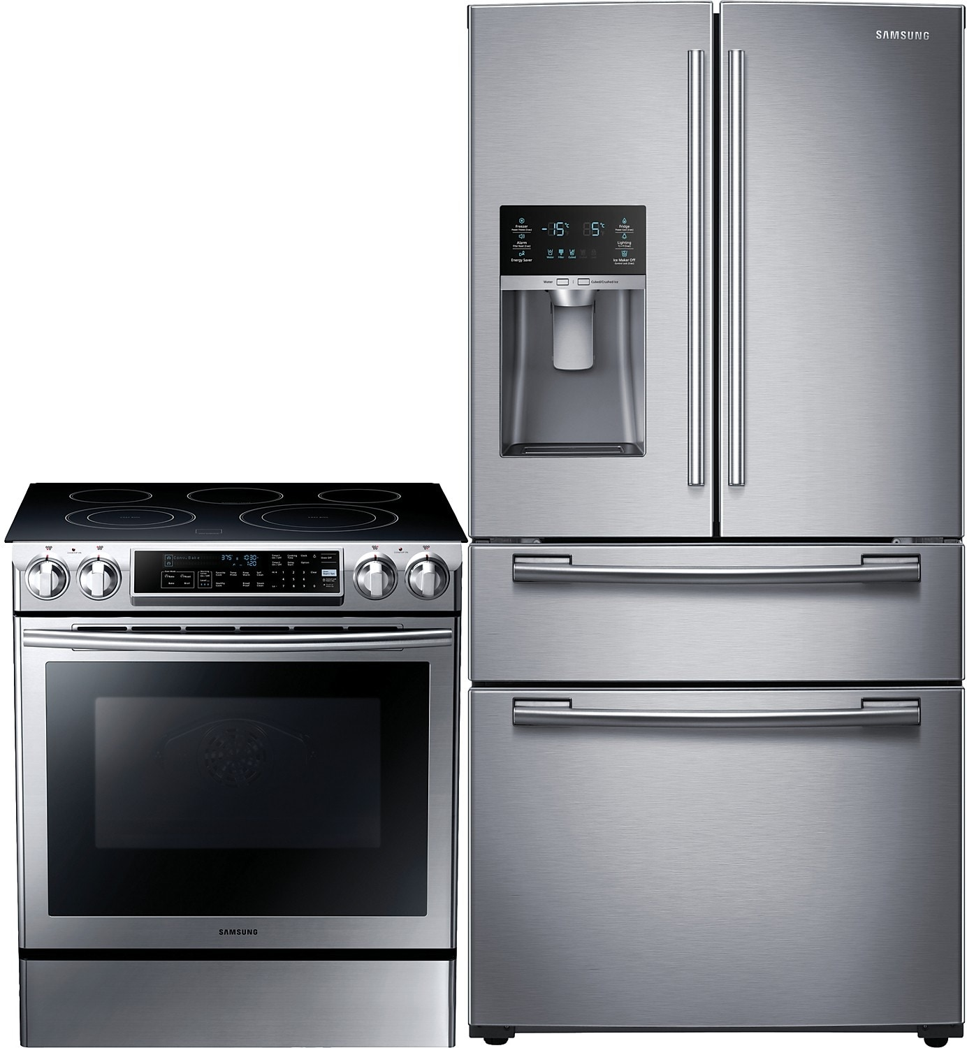 Refrigerators and Freezers - Samsung 25 Cu. Ft. French-Door Refrigerator and 5.8 Cu. Ft. Electric Range – Stainless Steel