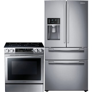 Samsung 25 Cu. Ft. French-Door Refrigerator and 5.8 Cu. Ft. Electric Range – Stainless Steel