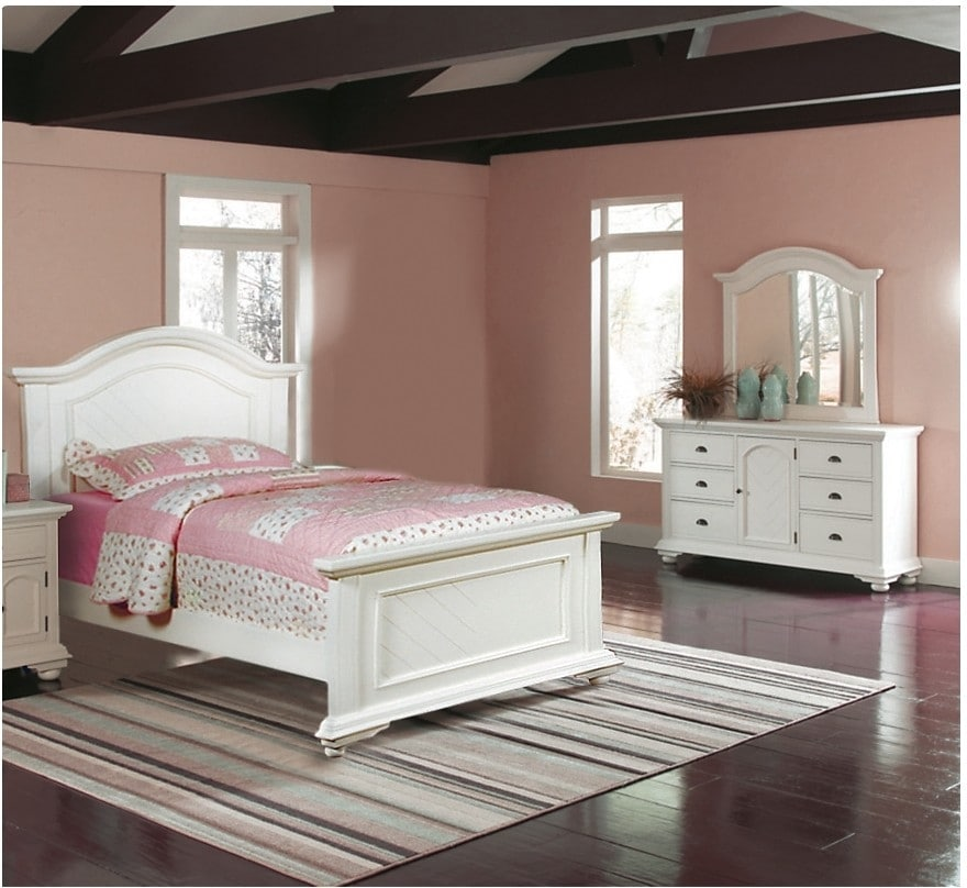 Bedroom Furniture - Casey Off White 5-Piece Full Bedroom Package