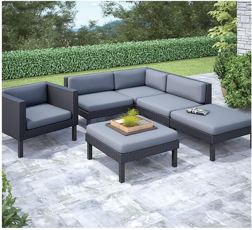Outdoor Furniture - Oceanside 6-Piece Patio Conversation Set – Black