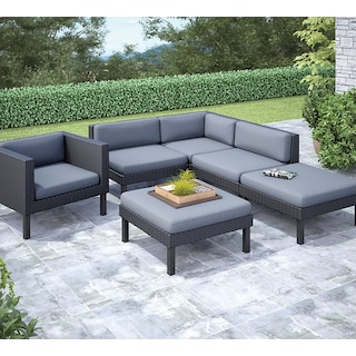Oceanside 6-Piece Patio Conversation Set – Black