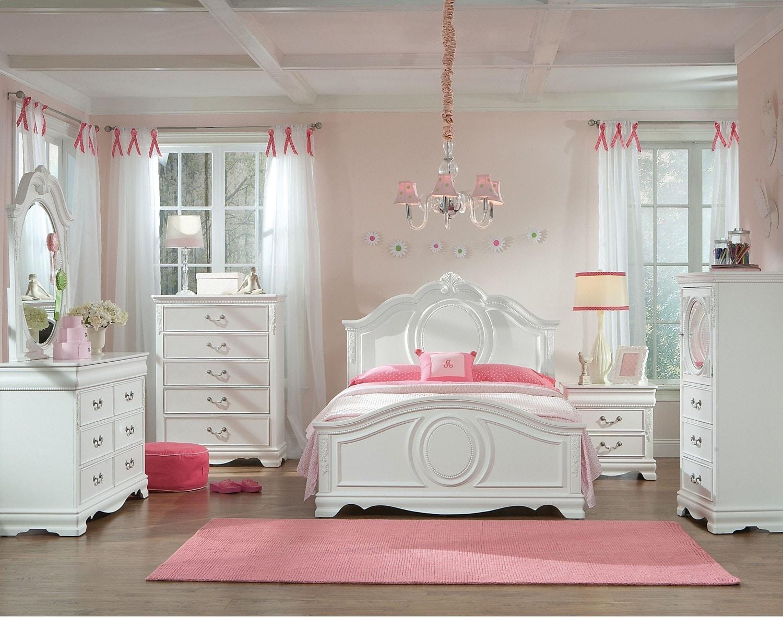 Kids Furniture - Kimberley White 8-Piece Full Bedroom Package