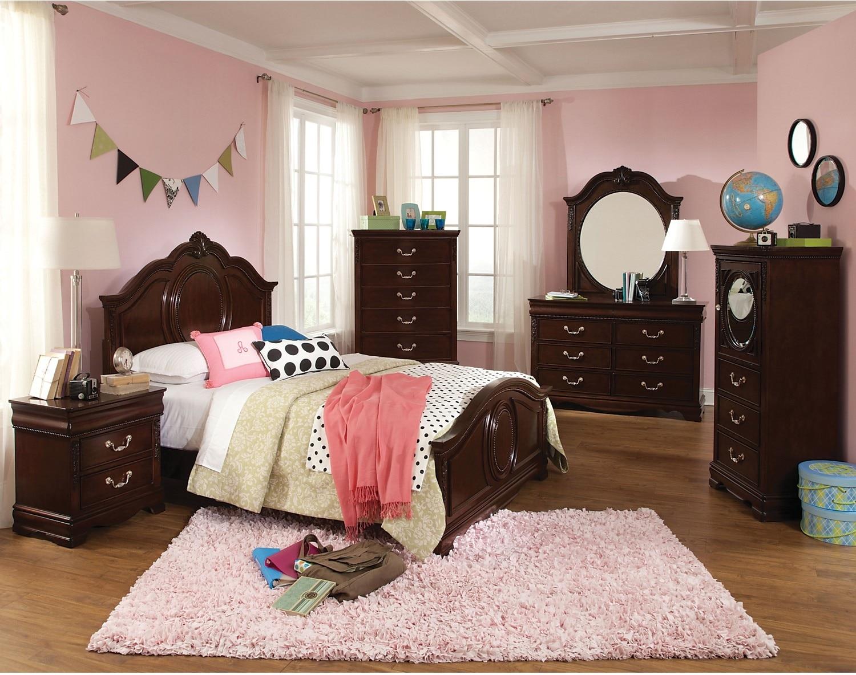 Kids Furniture - Kimberley Cherry 4-Piece Full Bedroom Package