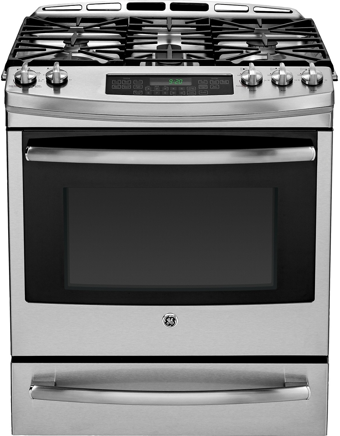 """Cooking Products - GE 30"""" Slide-In Self-Cleaning Dual Fuel Convection Range – Stainless Steel"""