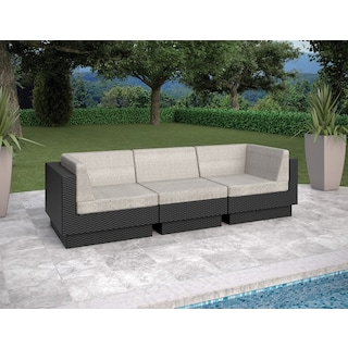 Parkview 3 Piece Sectional - Black