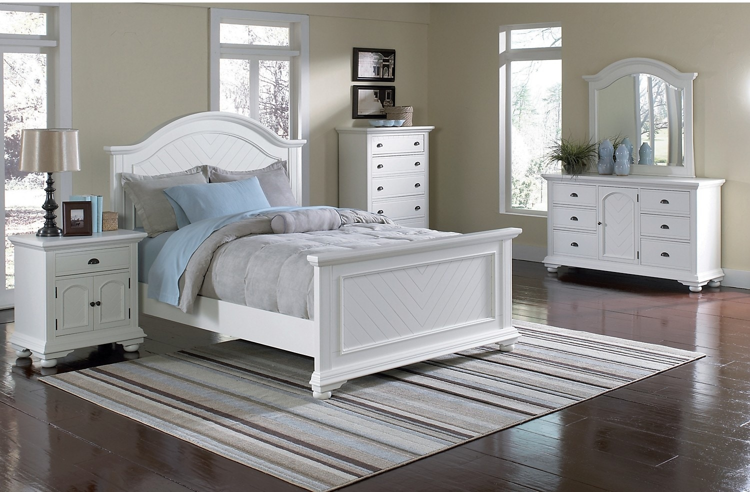 Bedroom Furniture - Casey Off White 8-Piece Full Bedroom Package