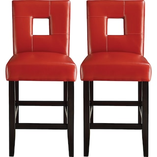 Bowden Counter-Height Chairs (Set of 2) - Red