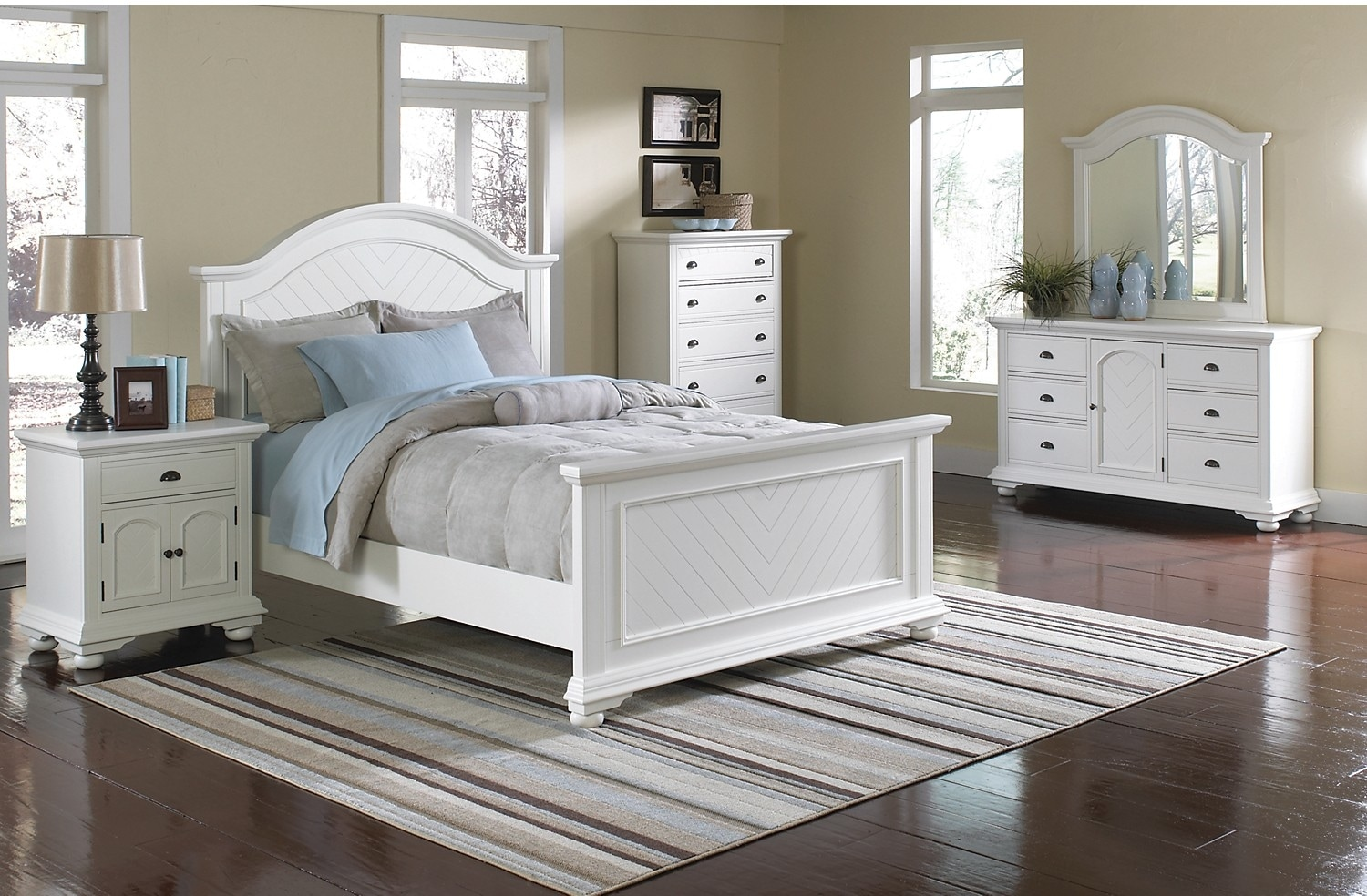 Bedroom Furniture - Casey Off White 8-Piece King Bedroom Package
