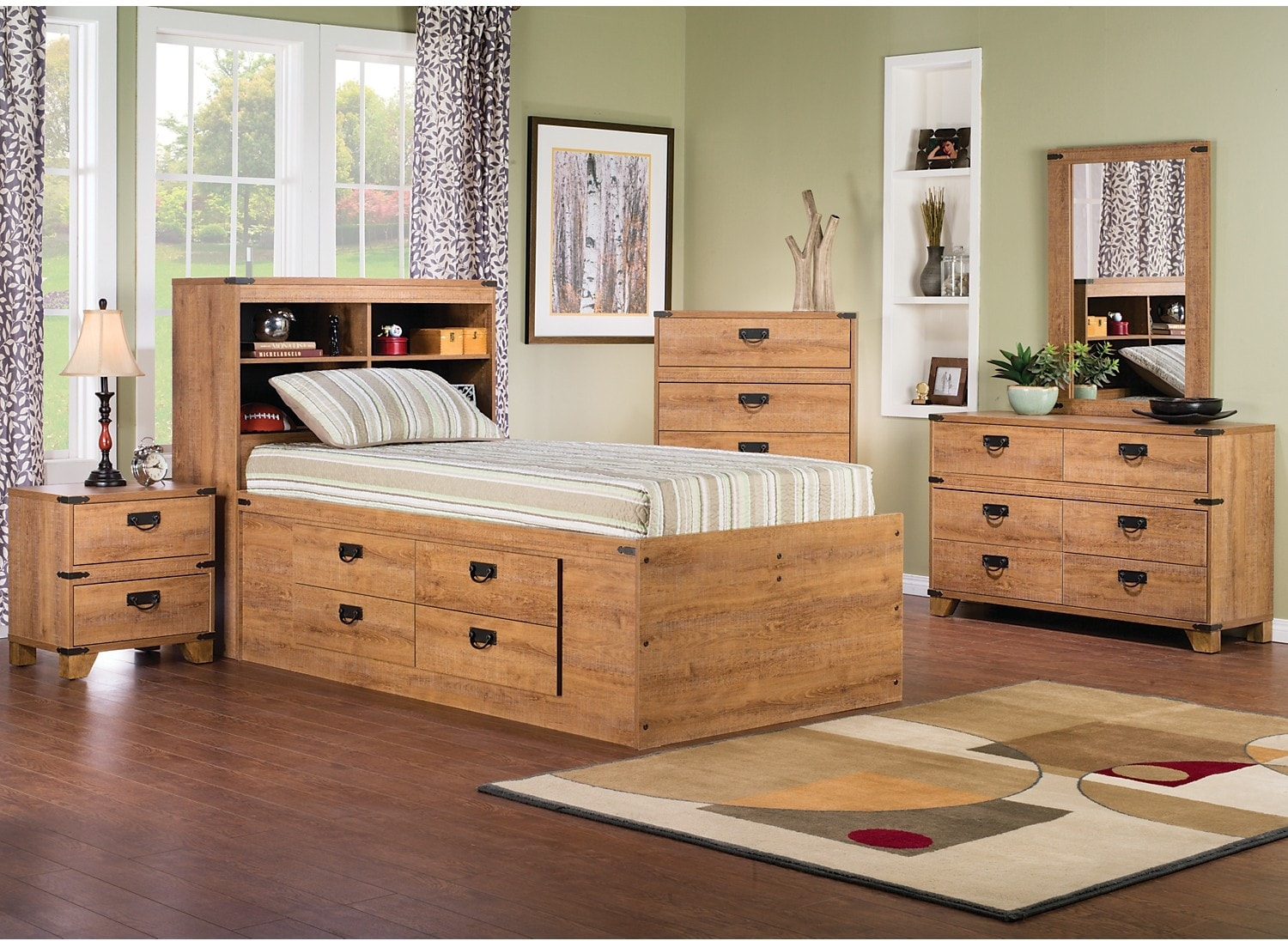 Kids Furniture - Fleetwood 7-Piece Twin Bookcase Storage Bedroom Package
