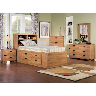 Fleetwood 7-Piece Twin Bookcase Storage Bedroom Package
