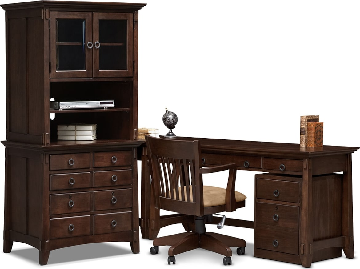 Home Office Furniture - The Wentworth Dark Collection - Lateral File Cabinet with Door Hutch