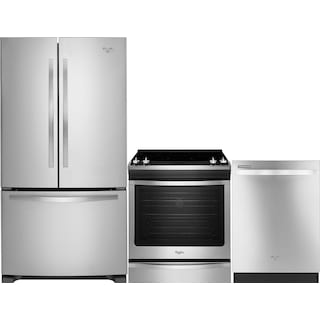 Whirlpool® 22 Cu. Ft. Fridge, 6.2 Cu. Ft. Range and Dishwasher Package – Stainless Steel