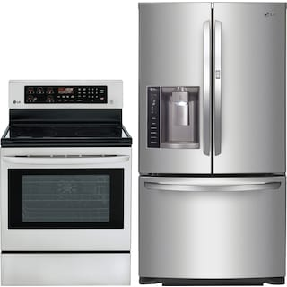 LG 26.6 Cu. Ft. Three Door Refrigerator and 6.3 Cu. Ft. Convection Range Package